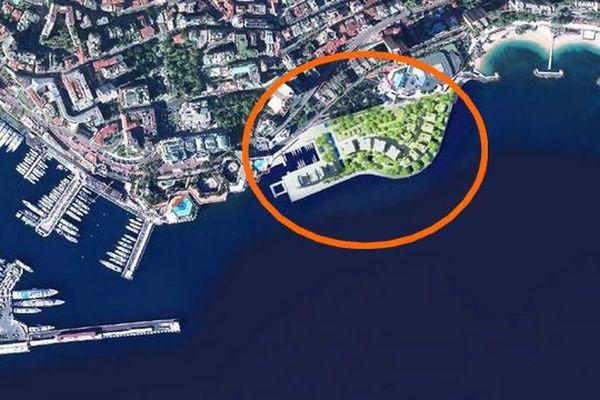 L'extension est située entre les plages du Larvotto et le port. Le plan masse.