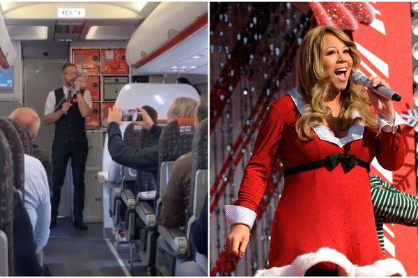 Le steward a repris la célèbre chanson de Noël de Mariah Carey.