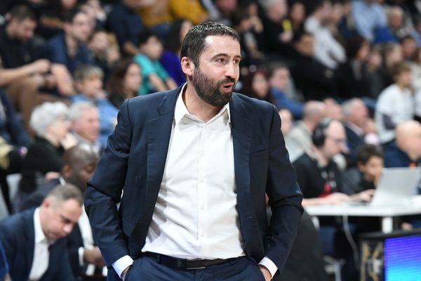 Basket Elite. Villeurbanne 9 janvier 2020 -Frédéric Fauthoux l'entraîneur de Boulogne Levallois.