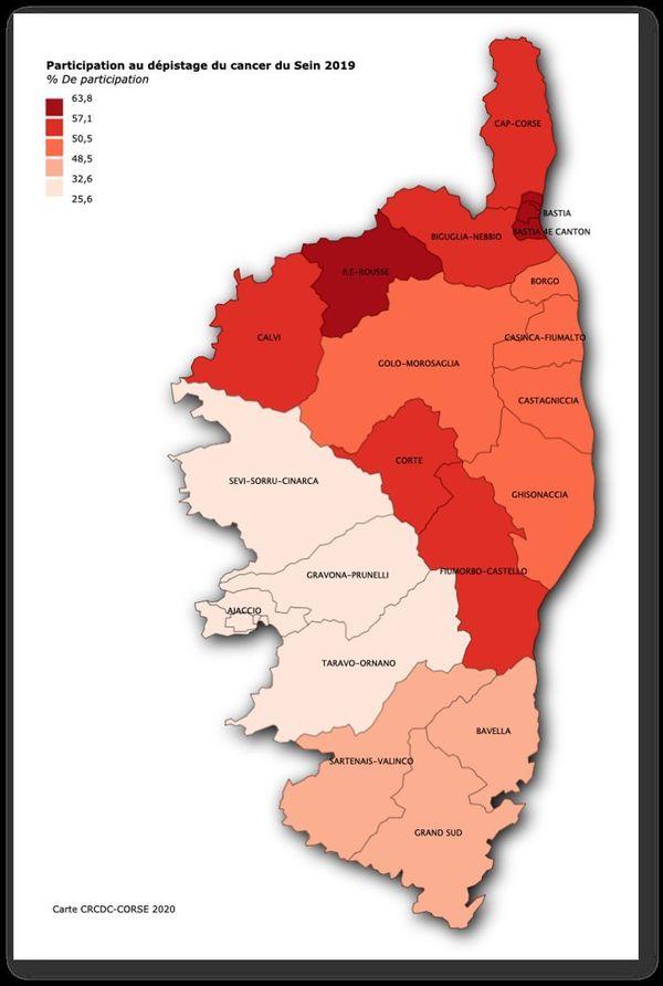 Carte représentant la participation au dépistage du cancer du sein en Corse en 2019.