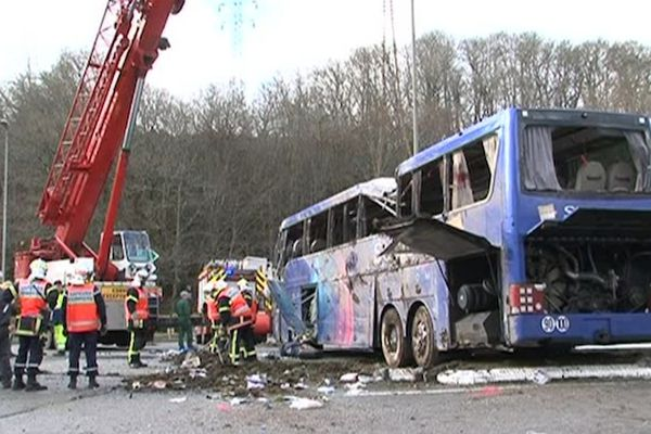 Le car accidenté à Quimper le 17 mars 2012