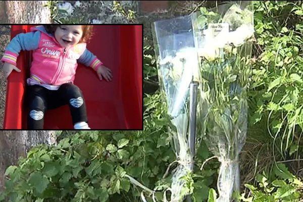 Des fleurs ont été déposées à Samer sur les lieux d'accident en hommage à Hanëya, 18 mois.