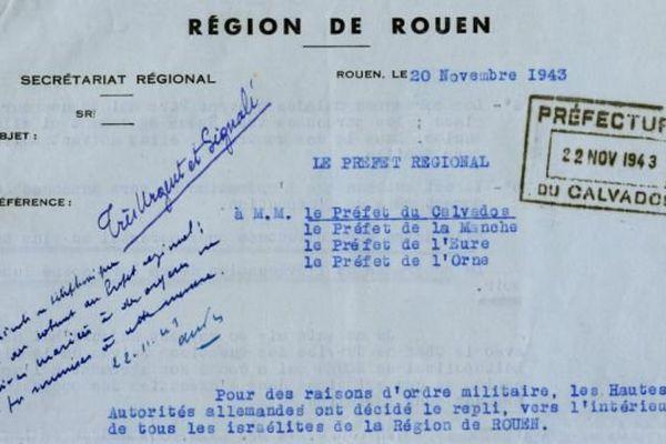 """La circulaire du """"préfet régional"""" signée par son directeur de cabinet relative à """"l'évacuation"""" des """"israélites"""" prévue le 24 novembre 1943."""