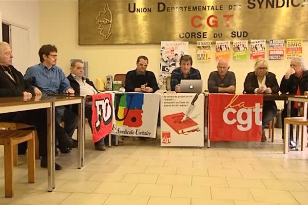 Conférence de presse de différents syndicats, le 29 mars 2016.