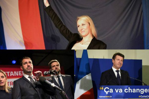 Les trois têtes de liste Front National, PS et Les Républicains.