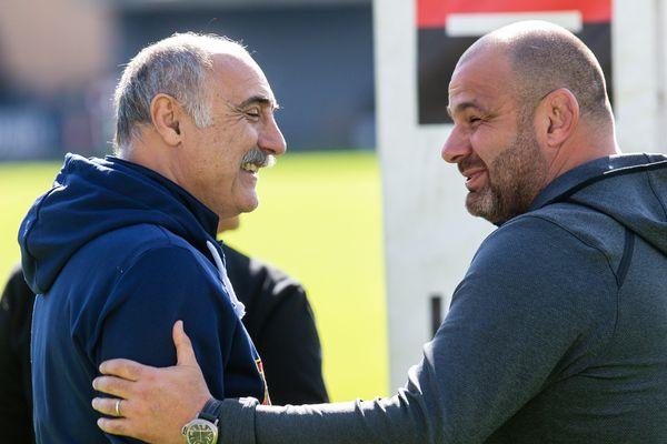 Les entraîneurs de l'USAP (Christian Lanta) et de Toulon (Patrice Collazo) lors du match, le 3 mars 2019 à Perpignan.