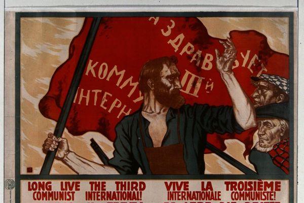 Affiche de propagande russe en faveur de la Troisième Internationale.