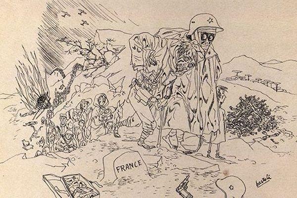 Dessin de Josep Bartoli - La Retirada 1939