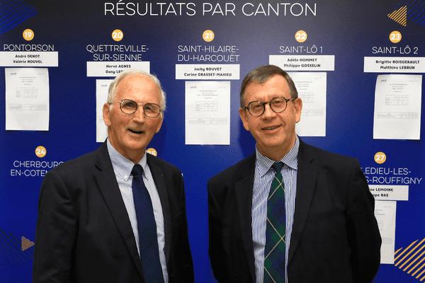 Marc Lefèvre (à gauche) et Jean Morin (à droite), au soir du second tour des élections départementales, le dimanche 27 juin 2021.