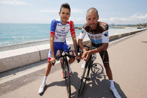 Les régionaux de l'étape Rudy Molard (gauche) et Mikaël Chérel (droite) se réjouissent de ce grand départ à Nice (ici en juin sur la promenade des Anglais)