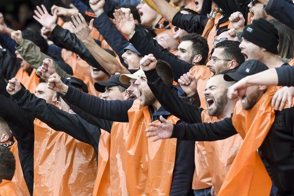 Les supporters du FC Lorient lors d'un match de coupe de France face à Brest le 5/01/2020 au stade du Moustoir à Lorient