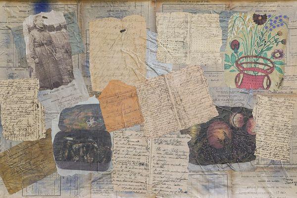 Timea Jankovics, En mémoire de Séraphine, technique mixte sur carton plume, 100 x 65 cm , 2019, Collection particulière
