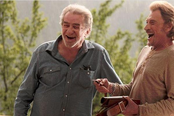 "Eddy Mitchell et Johnny Hallyday sur le tournage de ""Salaud, on t'aime"""