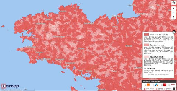 Carte de couverture réseau Orange en Bretagne