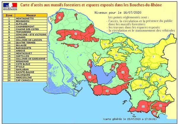 Carte d'accès aux massifs forestiers et espaces exposés dans les Bouches-du-Rhône.