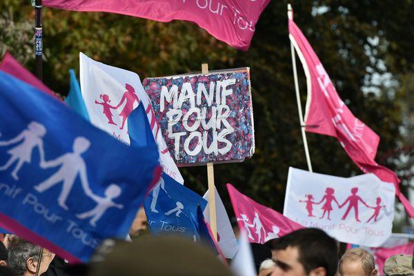 Le défilé de la Manif pour tous, le 16 octobre 2016.