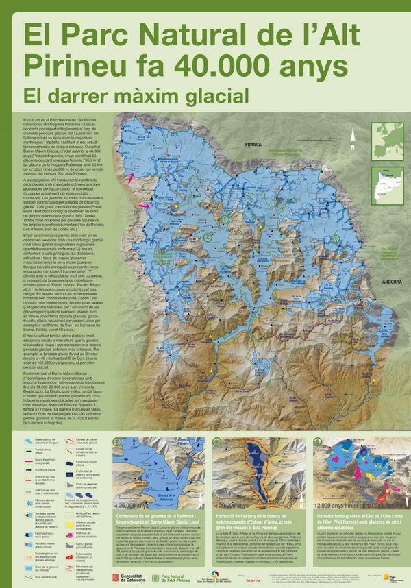Ce poster montre l'étendue du glacier qui recouvrait la plus grande part de l'actuel parc naturel des hautes Pyrénées en Espagne.