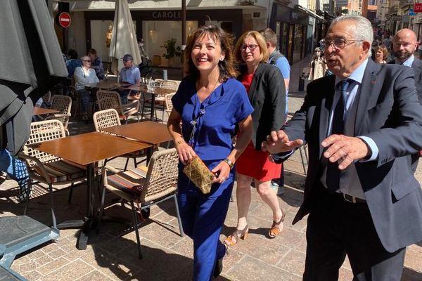 La présidente de la région Occitanie Carole Delga et le maire LR Jean-Marc Pujol le vendredi 12 juin à Perpignan.