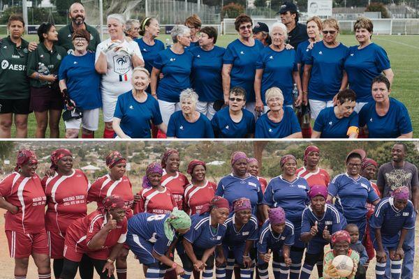 """L'équipe """"Mamies foot France"""" contre l'équipe"""" Grannies"""" d'Afrique du Sud."""