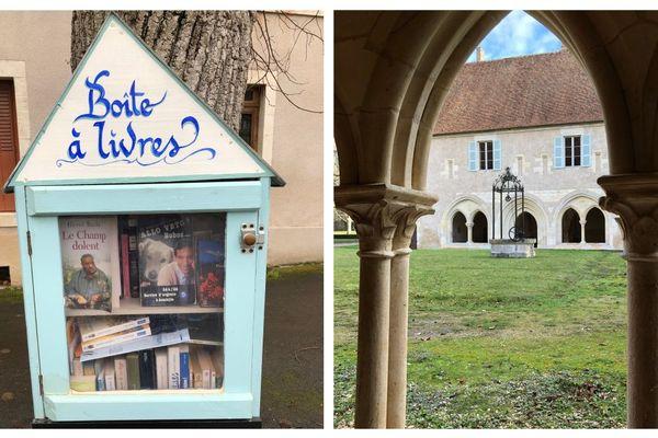 La boîte à livres de Mareuil et le cloître de l'abbaye de La Prée.