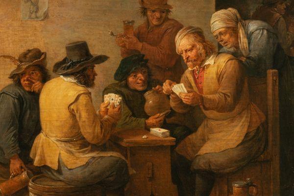 """Le visuel du jeu """"Musée à la carte"""", tiré du tableau de David Teniers le jeune, """"Scène de cabaret"""", conservé au musée des Beaux-Arts de Mulhouse."""