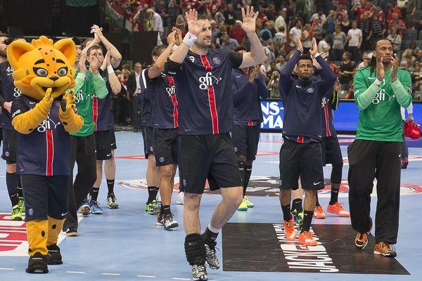 Les joueurs du PSG Handball, lors de la demi-finale de Ligue des champions face à Kielce.