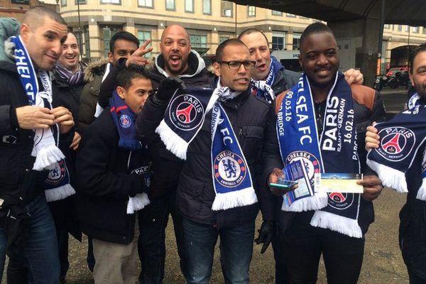 Des supporters parisiens à Londres pour le match Chelsea/PSG, le 9 mars 2016.