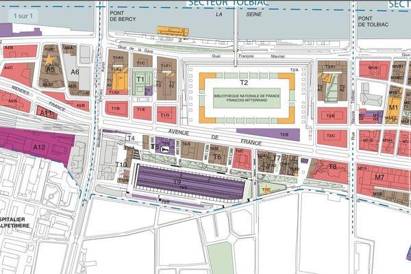 Plan d'aménagement du quartier de la Gare d'Austerlitz et de ses abords.