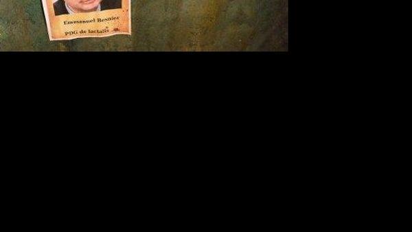 """Une affiche """"Wanted Emmanuel Besnier PDG de Lactalis"""" est laissée après le déblocage ce vendredi soir du rond-point aux abords du siège du groupe laitier, suite à l'échec des négociations"""