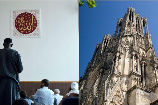 A gauche, des fidèles de la Grande Mosquée, à droite, la cathédrale de Reims