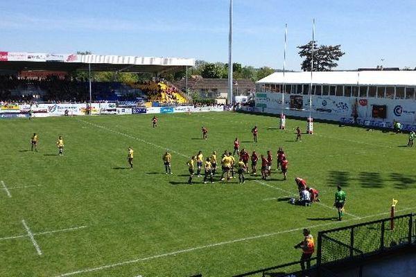 L'USO Nevers a battu l'US Tyrosse 25 à 15 lors des quarts de finale aller du championnat de France de Fédérale 1 dimanche 4 mai 2014.