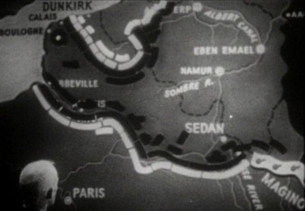 Les lignes de font dans le nord de la France au 24 mai 1940.