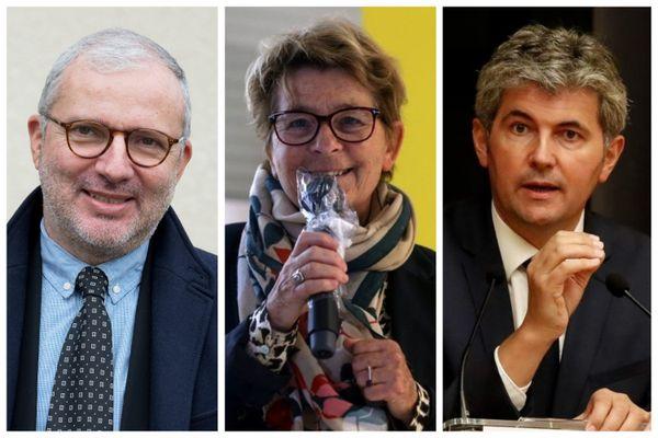 Denis Thuriot, Marie-Guite Dufay et Gilles Platret, têtes de liste pour les élections régionales en Bourgogne-Franche-Comté.