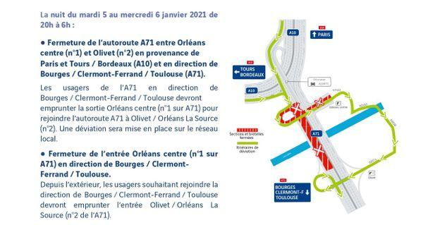 Schéma des travaux de la nuit du mardi 5 au mercredi 6 janvier 2021 de 20h à 6h à Orléans