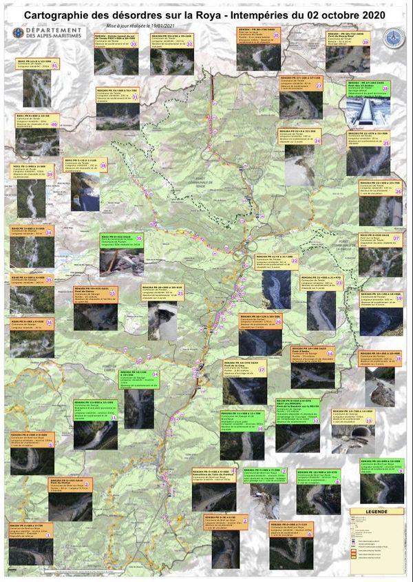 """Les """"désordres"""" recensés par le département des Alpes-Maritimes dans la vallée de la Roya."""