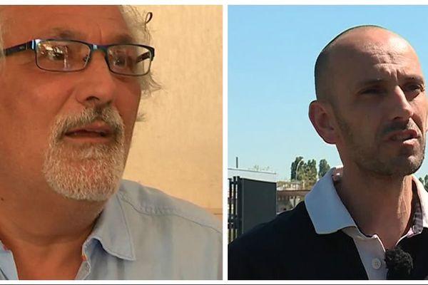 """Walter Broccoli, élu MoDem et candidat (FO) à la candidature """"En Marche !"""" et Lionel Burriello, candidat (CGT) """"La France Insoumise""""."""
