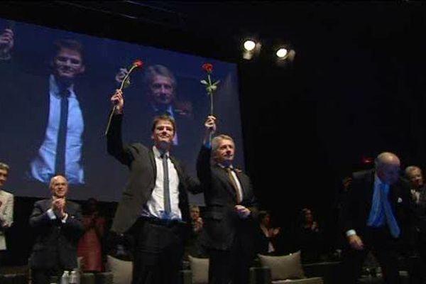 Nicolas Mayer-Rossignol et Laurent Beauvais, présidents sortants de la Haute et de la Basse -Normandie sous le signe de l'union pour conquérir la future grande région.
