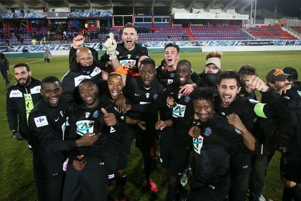 Coupe de France - La joie de la victoire pour le CA Bastia (Nat) après sa victoire en 16e de finale face à l'AS Nancy (L1), le 01/02/2017.