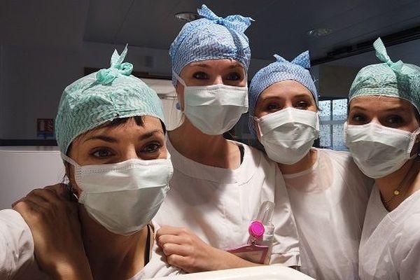 Vanessa Moralès et les infirmières de la clinique Occitanie  à Toulouse