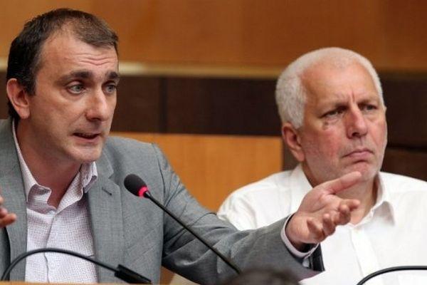 Jean-Christophe Angelini (G), président du groupe Femu a Corsica, à l'Assemblée de Corse (Illustration)