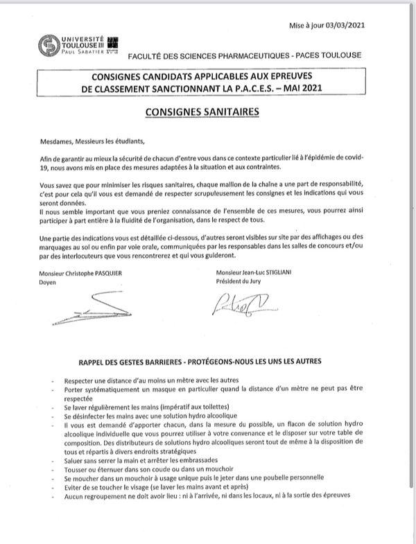 Le document officiel de l'Université Paul Sabatier qui rappelle les consignes sanitaires.