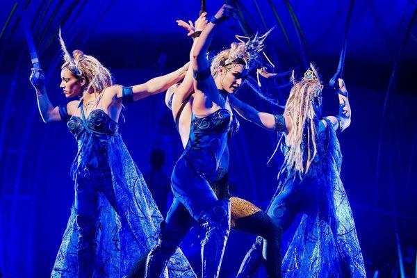 """Un extrait du spectacle """"Amaluna"""", du Cirque du Soleil, lors d'une représentation à Madrid, en Espagne, en janvier 2015."""