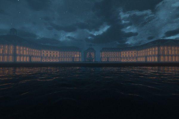 De nuit, la place de la Bourse s'illumine... sur Minecraft.
