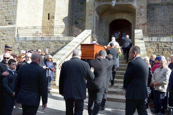 Trèbes (Aude) - les obsèques d'Hervé Sosna, le client du Super U tué par l'assaillant au début de la prise d'otages - 29 mars 2018.