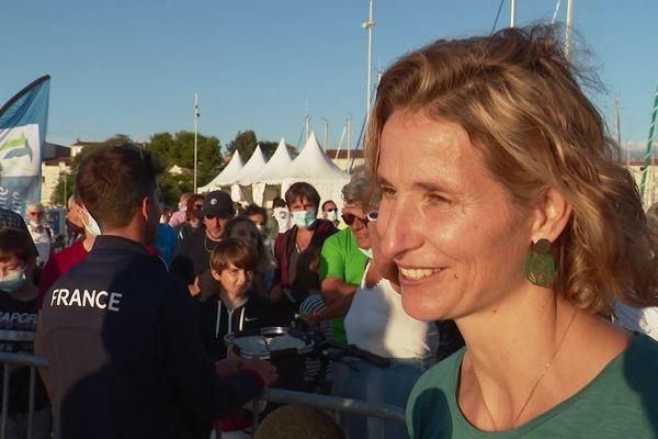 Sarah Steyaert ce samedi lors de la fête d'hommage aux athlètes olympiques.