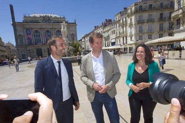 Déplacement de Yannick Jadot, député européen écologiste EELV à Montpellier pour soutenir Michaël Delafosse et la liste Montpellier Unie avec Coralie Mantion et les écologistes pour le second tour des élections municipales.