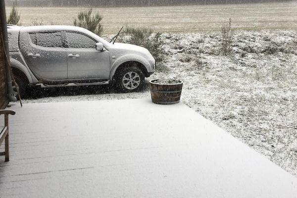 Début de matinée dans les Cévennes gardoises, La neige tombe à nouveau ce lundi à Camprieu.