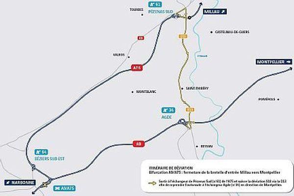 Quitter l'A75 à Pézenas et reprendre l'A9 à Agde.