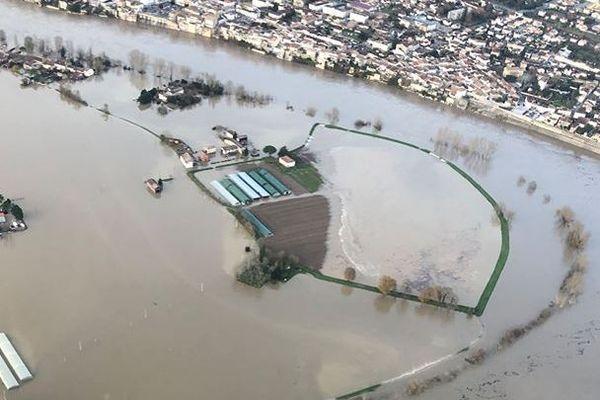 La crue de la Garonne dans le Lot-et-Garonne le 15 décembre 2019