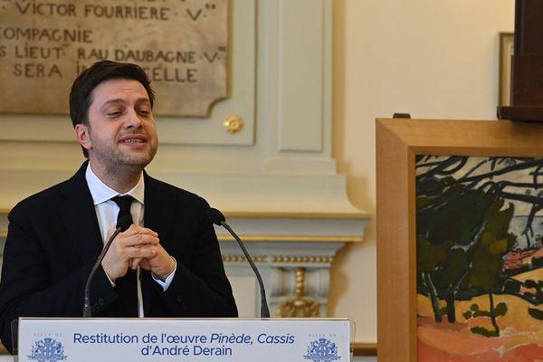 Le maire de Marseille Benoît Payan, lors de la cérémonie de restitution du tableau